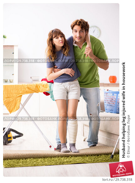 Купить «Husband helping leg injured wife in housework», фото № 29738318, снято 4 октября 2018 г. (c) Elnur / Фотобанк Лори