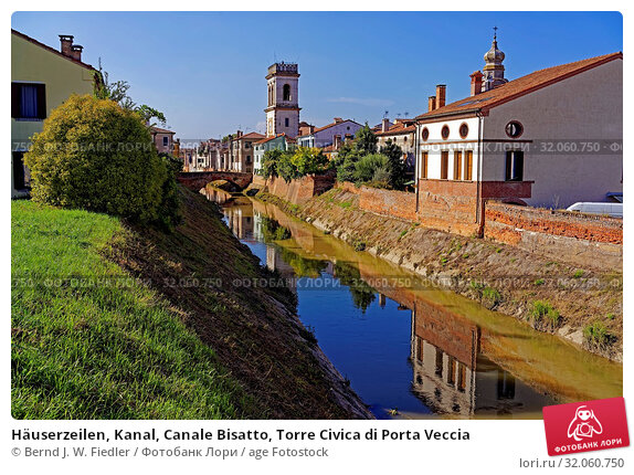 Häuserzeilen, Kanal, Canale Bisatto, Torre Civica di Porta Veccia. Стоковое фото, фотограф Bernd J. W. Fiedler / age Fotostock / Фотобанк Лори
