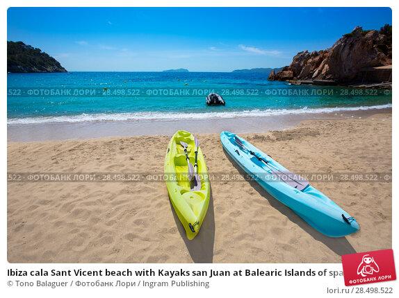 Купить «Ibiza cala Sant Vicent beach with Kayaks san Juan at Balearic Islands of spain», фото № 28498522, снято 11 июня 2013 г. (c) Ingram Publishing / Фотобанк Лори
