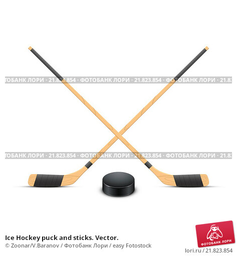 Купить «Ice Hockey puck and sticks. Vector.», фото № 21823854, снято 21 февраля 2019 г. (c) easy Fotostock / Фотобанк Лори