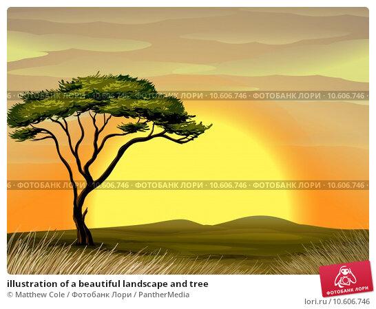 illustration of a beautiful landscape and tree. Стоковая иллюстрация, иллюстратор Matthew Cole / PantherMedia / Фотобанк Лори