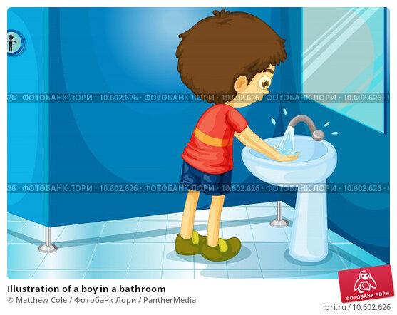 Illustration of a boy in a bathroom. Стоковая иллюстрация, иллюстратор Matthew Cole / PantherMedia / Фотобанк Лори