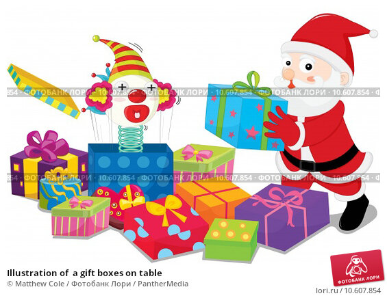 Illustration of  a gift boxes on table. Стоковая иллюстрация, иллюстратор Matthew Cole / PantherMedia / Фотобанк Лори