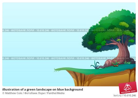 illustration of a green landscape on blue background. Стоковая иллюстрация, иллюстратор Matthew Cole / PantherMedia / Фотобанк Лори