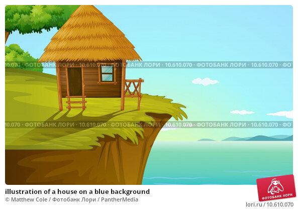 illustration of a house on a blue background. Стоковая иллюстрация, иллюстратор Matthew Cole / PantherMedia / Фотобанк Лори
