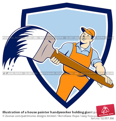 Illustration of a house painter handyworker holding giant paintbrush viewed from front set inside shield crest on isolated background done in cartoon style. Стоковое фото, фотограф Zoonar.com/patrimonio designs limited / easy Fotostock / Фотобанк Лори