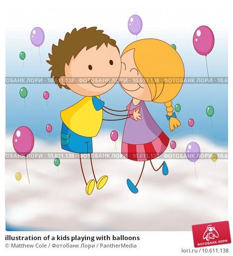 illustration of a kids playing with balloons. Стоковая иллюстрация, иллюстратор Matthew Cole / PantherMedia / Фотобанк Лори