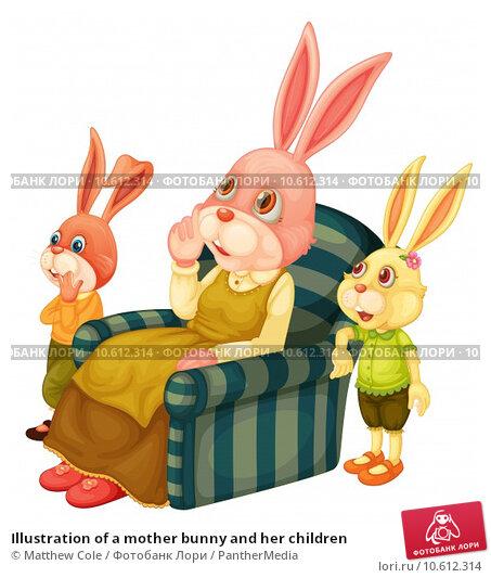 Illustration of a mother bunny and her children. Стоковая иллюстрация, иллюстратор Matthew Cole / PantherMedia / Фотобанк Лори