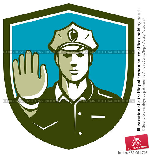 Illustration of a traffic policeman police officer holding hand up stop sign set inside shield crest done in retro style on isolated background. Стоковое фото, фотограф Zoonar.com/aloysius patrimonio / easy Fotostock / Фотобанк Лори