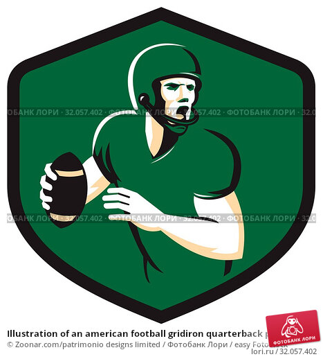 Illustration of an american football gridiron quarterback player holding ball shouting facing side set inside crest shield on isolated background done in retro style. Стоковое фото, фотограф Zoonar.com/patrimonio designs limited / easy Fotostock / Фотобанк Лори