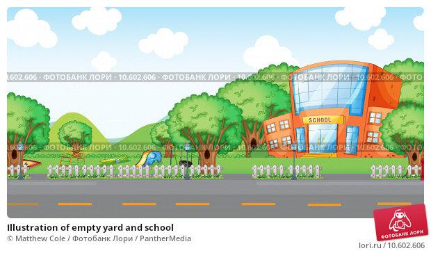 Illustration of empty yard and school. Стоковая иллюстрация, иллюстратор Matthew Cole / PantherMedia / Фотобанк Лори