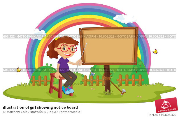 illustration of girl showing notice board. Стоковая иллюстрация, иллюстратор Matthew Cole / PantherMedia / Фотобанк Лори