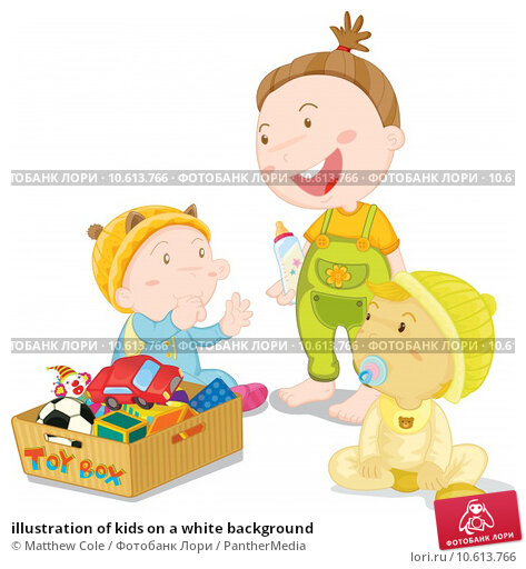 illustration of kids on a white background. Стоковая иллюстрация, иллюстратор Matthew Cole / PantherMedia / Фотобанк Лори
