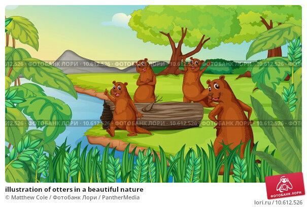 illustration of otters in a beautiful nature. Стоковая иллюстрация, иллюстратор Matthew Cole / PantherMedia / Фотобанк Лори