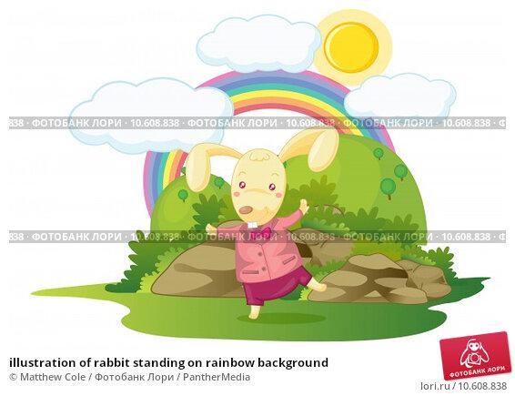 illustration of rabbit standing on rainbow background. Стоковая иллюстрация, иллюстратор Matthew Cole / PantherMedia / Фотобанк Лори