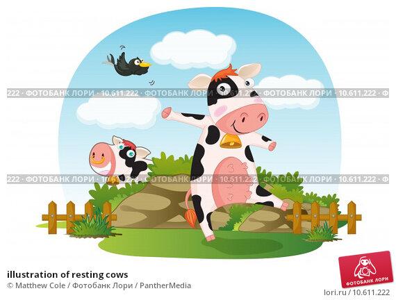illustration of resting cows. Стоковая иллюстрация, иллюстратор Matthew Cole / PantherMedia / Фотобанк Лори