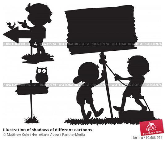 illustration of shadows of different cartoons. Стоковая иллюстрация, иллюстратор Matthew Cole / PantherMedia / Фотобанк Лори