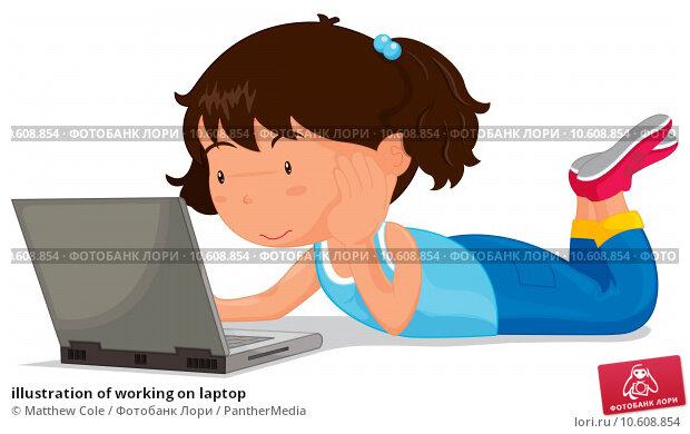 illustration of working on laptop. Стоковая иллюстрация, иллюстратор Matthew Cole / PantherMedia / Фотобанк Лори