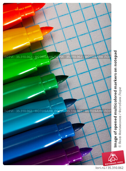 Image of opened multicolored markers on notepad. Стоковое фото, фотограф Яков Филимонов / Фотобанк Лори