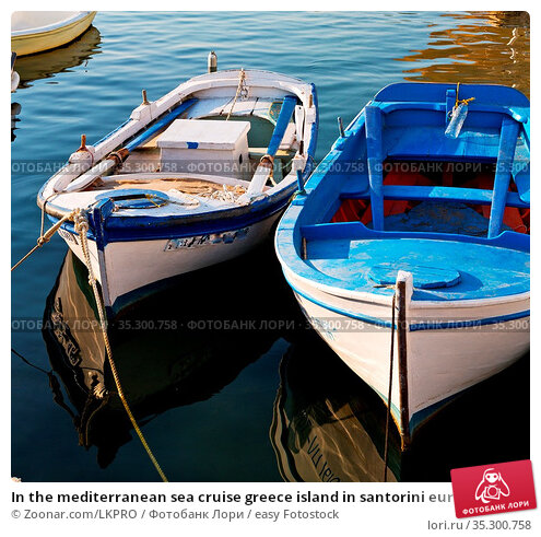 In the mediterranean sea cruise greece island in santorini europe... Стоковое фото, фотограф Zoonar.com/LKPRO / easy Fotostock / Фотобанк Лори