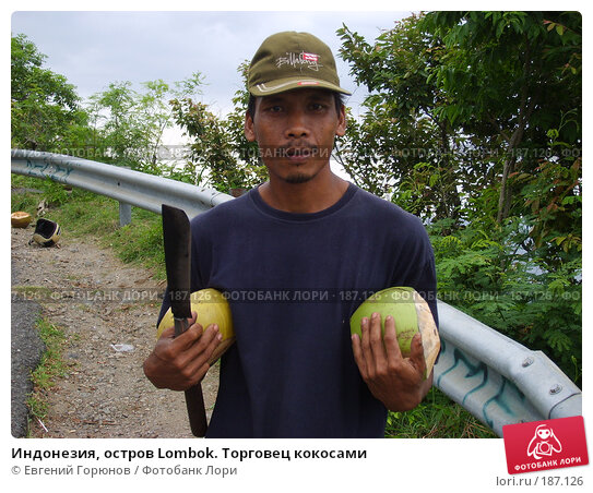 Индонезия, остров Lombok. Торговец кокосами, фото № 187126, снято 11 июня 2006 г. (c) Евгений Горюнов / Фотобанк Лори
