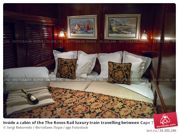 Inside a cabin of the The Rovos Rail luxury train travelling between Cape Town and Pretoria in South Africa. Pride of Africa beautifully rebuilt Classic... Редакционное фото, фотограф Sergi Reboredo / age Fotostock / Фотобанк Лори