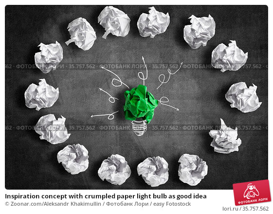 Inspiration concept with crumpled paper light bulb as good idea. Стоковое фото, фотограф Zoonar.com/Aleksandr Khakimullin / easy Fotostock / Фотобанк Лори