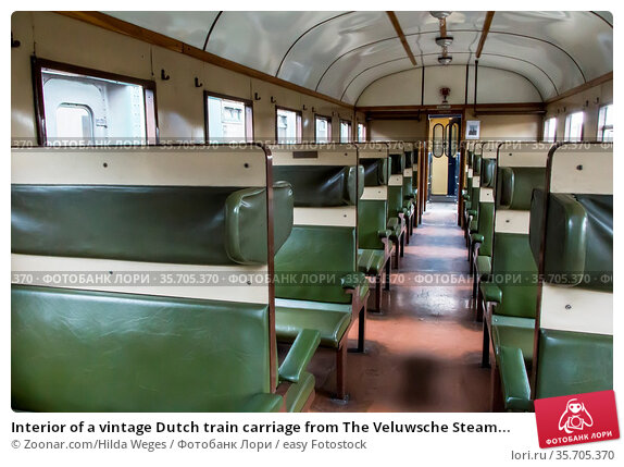 Interior of a vintage Dutch train carriage from The Veluwsche Steam... Стоковое фото, фотограф Zoonar.com/Hilda Weges / easy Fotostock / Фотобанк Лори