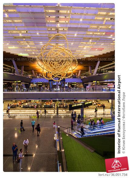 Interior of Hamad International Airport (2018 год). Стоковое фото, фотограф Юлия Белоусова / Фотобанк Лори