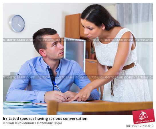 Купить «Irritated spouses having serious conversation», фото № 12735610, снято 21 ноября 2018 г. (c) Яков Филимонов / Фотобанк Лори