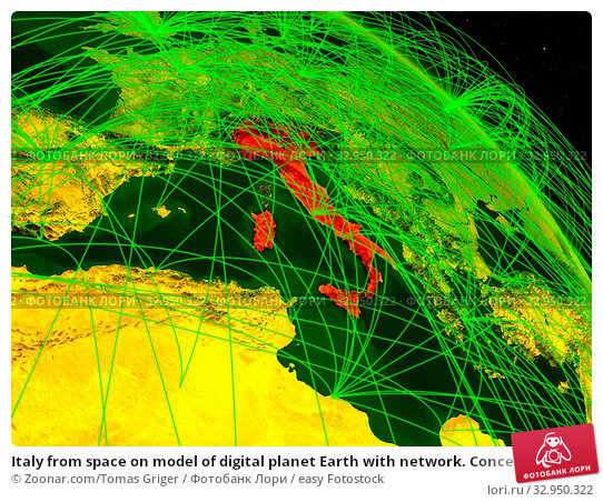 Italy from space on model of digital planet Earth with network. Concept of digital technology, connectivity and travel. 3D illustration. Elements of this image furnished by NASA. Стоковое фото, фотограф Zoonar.com/Tomas Griger / easy Fotostock / Фотобанк Лори