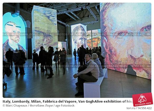 Купить «Italy, Lombardy, Milan, Fabbrica del Vapore, Van GoghAlive exhibition of his paintings computerized», фото № 14550422, снято 1 февраля 2014 г. (c) age Fotostock / Фотобанк Лори