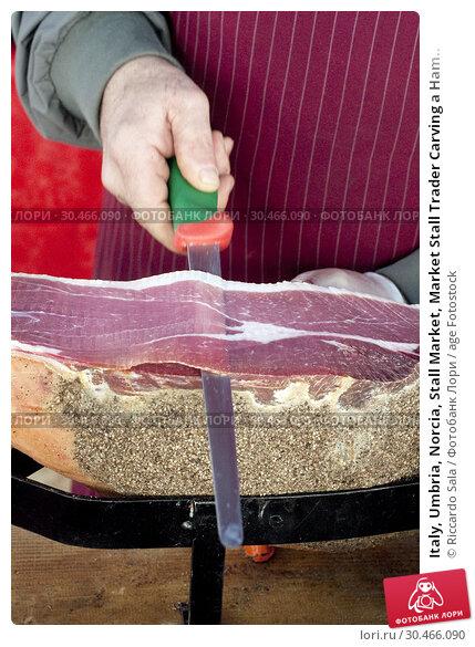 Italy, Umbria, Norcia, Stall Market, Market Stall Trader Carving a Ham.. Стоковое фото, фотограф Riccardo Sala / age Fotostock / Фотобанк Лори