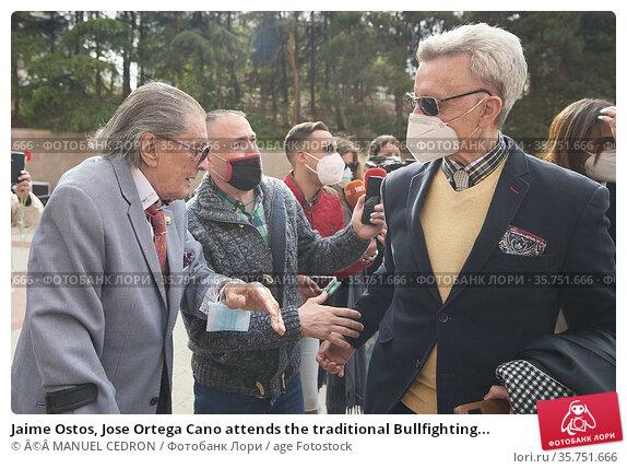 Jaime Ostos, Jose Ortega Cano attends the traditional Bullfighting... Редакционное фото, фотограф ©MANUEL CEDRON / age Fotostock / Фотобанк Лори