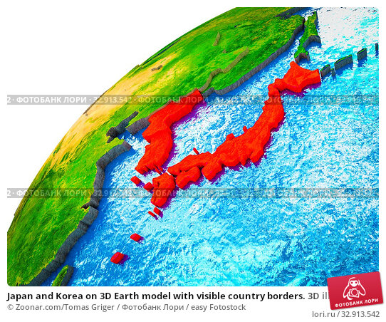 Japan and Korea on 3D Earth model with visible country borders. 3D illustration. Стоковое фото, фотограф Zoonar.com/Tomas Griger / easy Fotostock / Фотобанк Лори