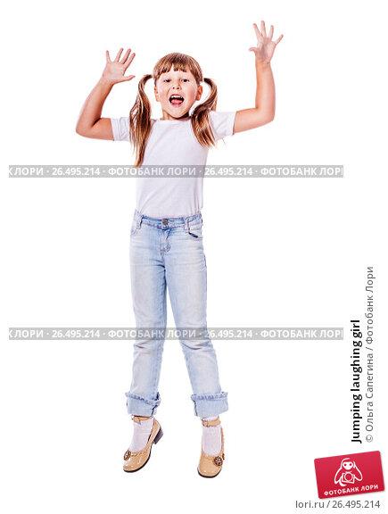 Купить «Jumping laughing girl», фото № 26495214, снято 27 июня 2010 г. (c) Ольга Сапегина / Фотобанк Лори