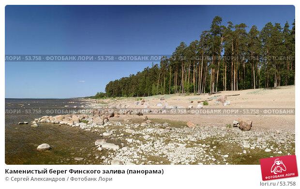 Каменистый берег Финского залива (панорама), фото № 53758, снято 2 июня 2007 г. (c) Сергей Александров / Фотобанк Лори