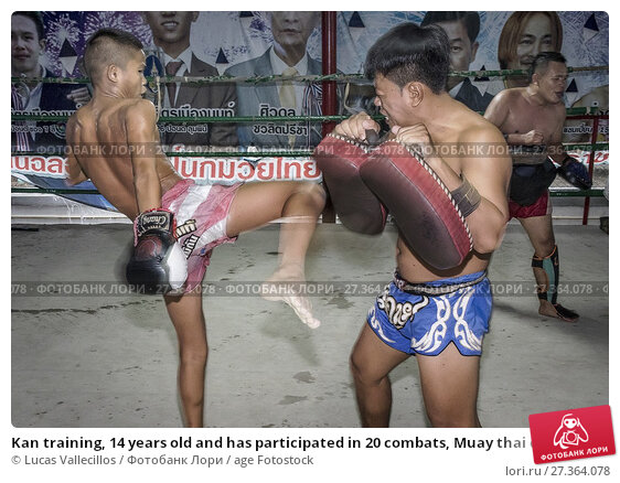 Купить «Kan training, 14 years old and has participated in 20 combats, Muay thai camp, Bangkok, Thailand.», фото № 27364078, снято 24 марта 2018 г. (c) age Fotostock / Фотобанк Лори