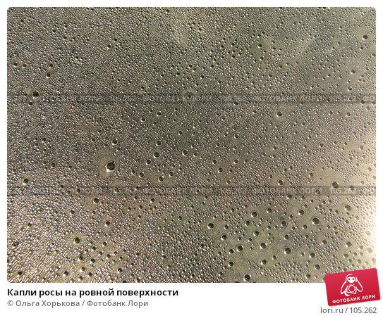 Капли росы на ровной поверхности, фото № 105262, снято 29 мая 2017 г. (c) Ольга Хорькова / Фотобанк Лори