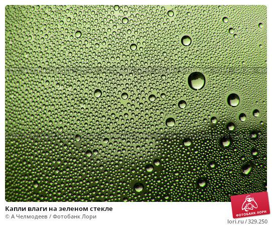 Капли влаги на зеленом стекле, фото № 329250, снято 23 июля 2017 г. (c) A Челмодеев / Фотобанк Лори