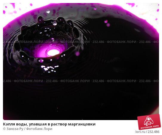 Капля воды, упавшая в раствор марганцовки, фото № 232486, снято 25 марта 2008 г. (c) Заноза-Ру / Фотобанк Лори