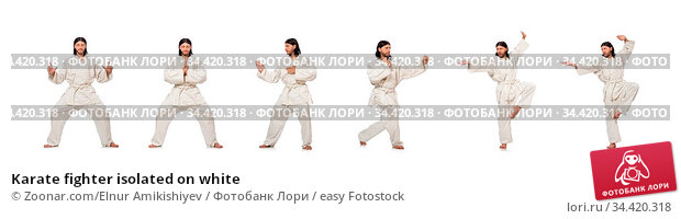 Karate fighter isolated on white. Стоковое фото, фотограф Zoonar.com/Elnur Amikishiyev / easy Fotostock / Фотобанк Лори