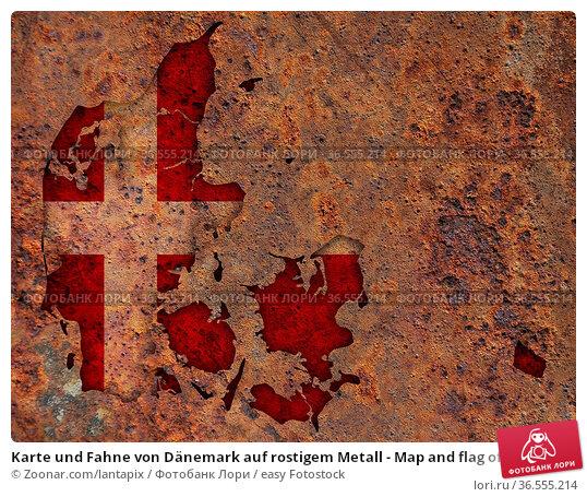 Karte und Fahne von Dänemark auf rostigem Metall - Map and flag of... Стоковое фото, фотограф Zoonar.com/lantapix / easy Fotostock / Фотобанк Лори