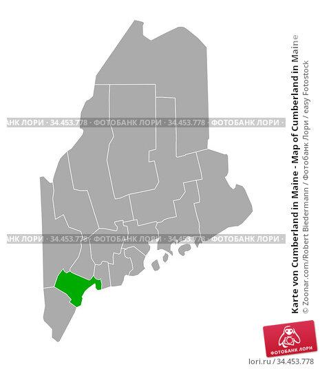Karte von Cumberland in Maine - Map of Cumberland in Maine. Стоковое фото, фотограф Zoonar.com/Robert Biedermann / easy Fotostock / Фотобанк Лори