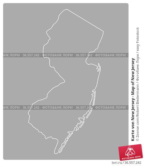 Karte von New Jersey - Map of New Jersey. Стоковое фото, фотограф Zoonar.com/Robert Biedermann / easy Fotostock / Фотобанк Лори