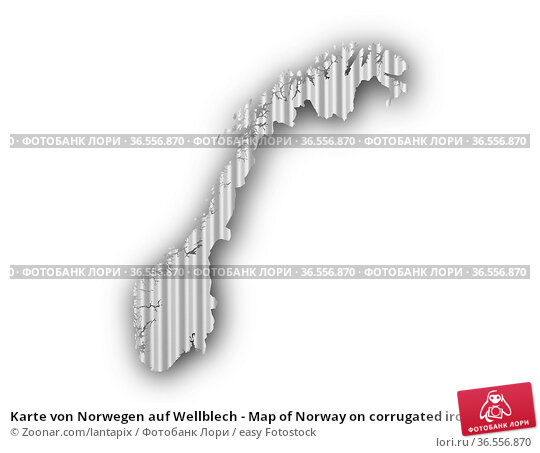 Karte von Norwegen auf Wellblech - Map of Norway on corrugated iron. Стоковое фото, фотограф Zoonar.com/lantapix / easy Fotostock / Фотобанк Лори