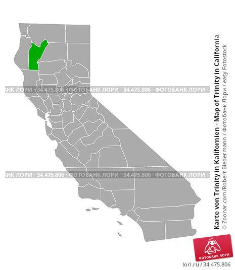 Karte von Trinity in Kalifornien - Map of Trinity in California. Стоковое фото, фотограф Zoonar.com/Robert Biedermann / easy Fotostock / Фотобанк Лори