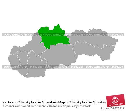 Karte von Zilinsky kraj in Slowakei - Map of Zilinsky kraj in Slovakia. Стоковое фото, фотограф Zoonar.com/Robert Biedermann / easy Fotostock / Фотобанк Лори