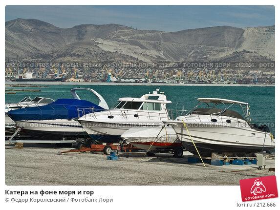 Купить «Катера на фоне моря и гор», фото № 212666, снято 28 февраля 2008 г. (c) Федор Королевский / Фотобанк Лори