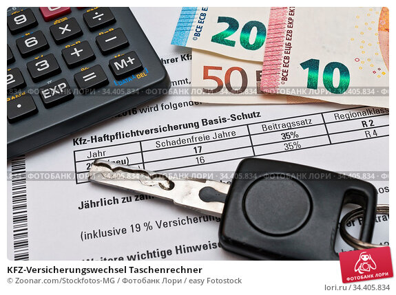 KFZ-Versicherungswechsel Taschenrechner. Стоковое фото, фотограф Zoonar.com/Stockfotos-MG / easy Fotostock / Фотобанк Лори